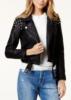 Joe's Jeans Joe's Beaded Faux-Leather Moto Jacket