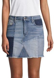 Charlie Patchwork Frayed Hem Denim Skirt