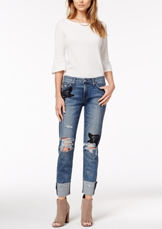 Joe's Cotton Ripped & Embroidered Cuff Jeans