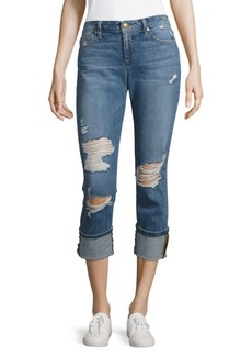 Distressed Roll Crop Jeans