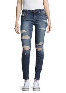 Distressed Roll-Cuff Skinny Jeans