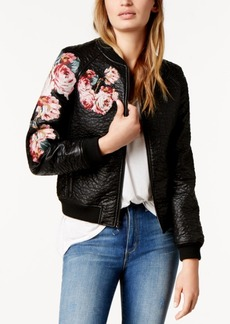 Joe's Jeans Joe's Embroidered Floral Faux-Leather Bomber Jacket