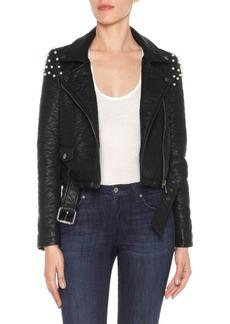 Joe's Jeans Faux Pearl Embellished Moto Jacket