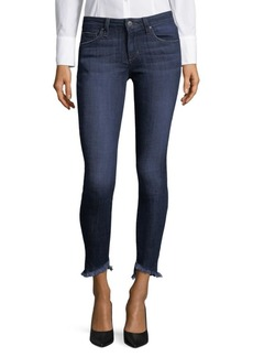 Frayed Skinny Ankle Jeans