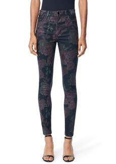 Joe's Jeans Charlie Coated Floral-Print Skinny Jeans