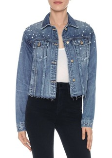 Joe's Jeans Cropped Distressed Rhinestone Boyfriend Jacket