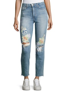 Joe's Jeans Debbie Crop Distressed Straight-Leg Jeans