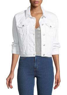 Joe's Jeans Dolman-Sleeve Button-Front Crop Denim Jacket