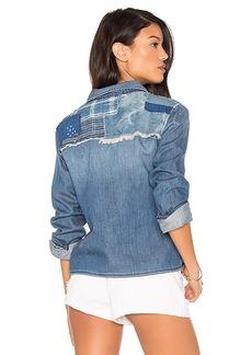 Joe's Jeans Josie Crop Button Up in Blue. - size M (also in S,XS)