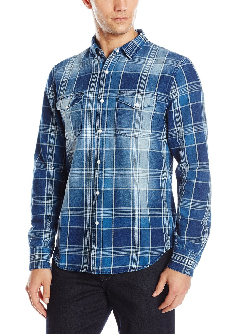 Joe's Jeans Men's Ralston Idigo Plaid Button Down Shirt Indigo M