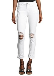 Joe's Jeans Rolled-Cuff Destroyed Cropped Jeans