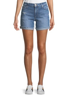 Joe's Jeans Rolled-Cuff Distressed Jean Shorts