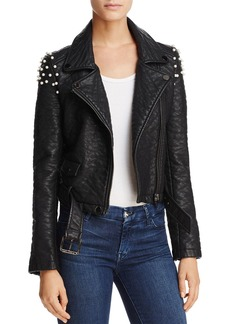 Joe's Jeans Taylor Embellished Faux Leather Motorcycle Jacket