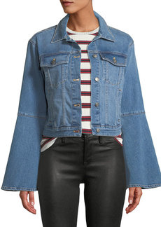 Joe's Jeans The Bell Sleeve Cropped Denim Trucker Jacket