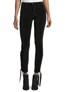 Joe's Jeans The Icon Ankle Mid-Rise Velvet Pants w/ Lace-Up Hem