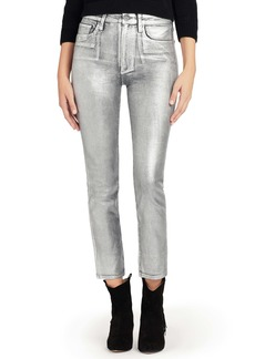 Joe's Jeans The Luna Metallic Lacquer High Waist Ankle Straight Leg Jeans (Silver)