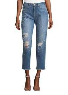 Joe's Jeans The Smith Embellished High-Rise Straight-Leg Ankle Jeans