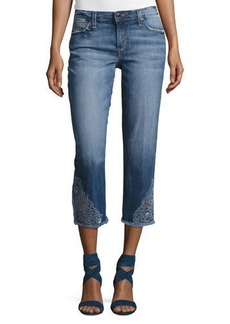 Joe's Jeans The Smith Mid-Rise Cropped Straight Jeans with Floral Embroidery