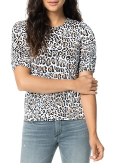 Joe's Jeans Twist-Sleeve Leopard-Printed Tee