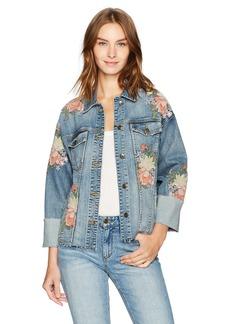 Joe's Jeans Women's Belize Embroidered Cuffed Denim Jacket in  XS