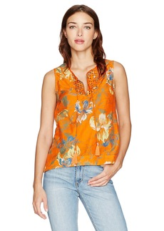 Joe's Jeans Women's Elora Hibiscus Print Blouse Persimmon S
