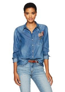 Joe's Jeans Women's Embroidered Denim Shirt  Dark Blue M