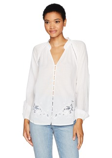 Joe's Jeans Women's Flora Embroidered Cotton Lawn Blouse White L