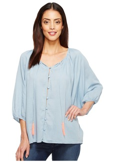 Joe's Jeans Women's Juliette Denim Gauze Blouse  XS