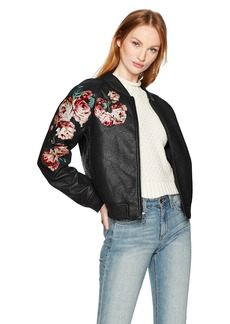Joe's Jeans Women's Pu Bomber Jacket  L