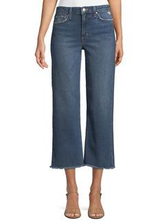 Joe's Jeans Wyatt Wide-Leg Crop Jeans w/ Frayed Hem