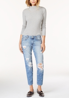 Joe's Leandra Ripped Pearl-Embellished Ankle Jeans