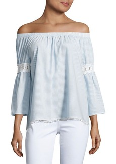 Joe's Jeans Off-the-Shoulder Embroidered Peasant Blouse