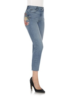 Joe's The Debbie Embroidered High Waist Crop Straight Leg Jeans (Sasha)