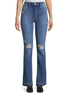 Wide-Leg Distressed Jeans