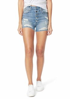 Joe's Jeans Kinsley Shorts Exposed Button Fly Fray Hem in Tulip