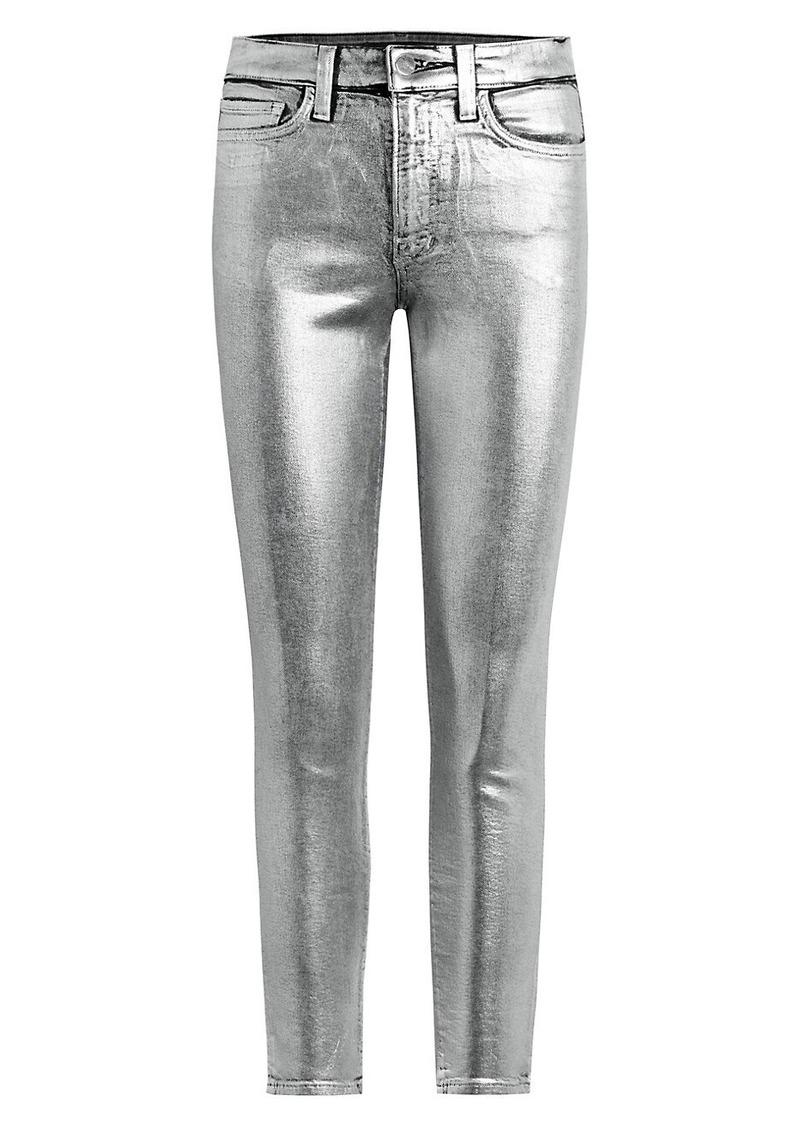 Joe's Jeans Luna High-Rise Slim Straight Ankle Metallic Jeans