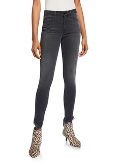 Joe's Jeans Mid-Rise Angled Fray-Hem Skinny Jeans