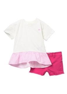 Joe's Jeans Mix Media Ruffle Top Set (Toddler Girls)