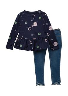 Joe's Jeans Peplum Space Top & Pants Set (Toddler Girls)