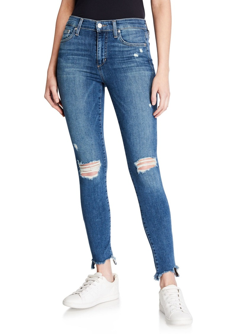 Joe's Jeans Skinny Ankle Sharkbite-Hem Distressed Jeans