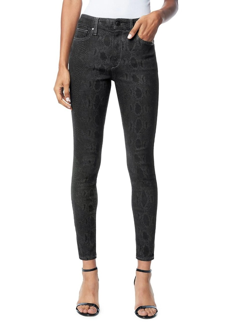 Joe's Jeans The Charlie High-Rise Coated Snake-Print Ankle Skinny Jeans