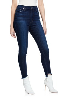 Joe's Jeans The Charlie Mid-Rise Fringe Hem Skinny Jeans