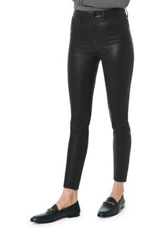 Joe's Jeans The Charlie Skinny-Leg Coated Ankle Pants w/ Cut Hem