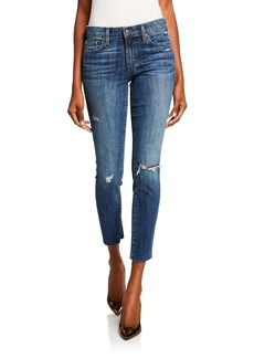 Joe's Jeans The Icon Distressed Cut-Hem Cropped Skinny Jeans