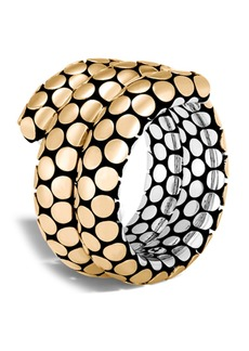 John Hardy 18K Gold & Sterling Silver Dot Double Coil Ring - Size 7