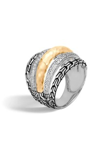 John Hardy 18K Yellow Gold, Silver and Diamond Pave Classic Chain Ring