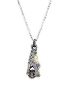 John Hardy 18K Yellow Gold, Sterling Silver & Sapphire Dragon Pendant Necklace