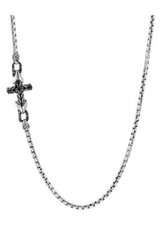 John Hardy Asli Classic Chain Link Silver Box Chain & Satin Matte Black Rhodium Necklace