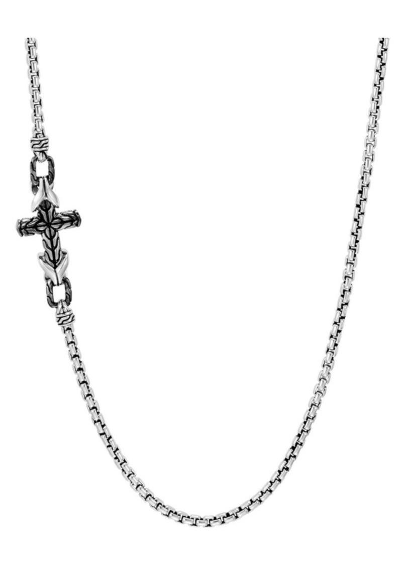 John Hardy Asli Classic Chain Link Silver Box Chain & Satin Matte Black Rhodium Necklace