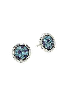 John Hardy Bamboo Sterling Silver, Swiss Blue Topaz & Lolite Stud Earrings